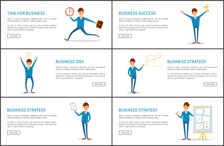Time for business, success and strategy posters set vector. Boss with award in hand, prize for hard work. Leader of company, showing plan on page