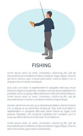 Fishing outdoor activity brochure with fisher and text sample. Rodman in profile with tackle or spinning hilding perch or bass fish catch or take.