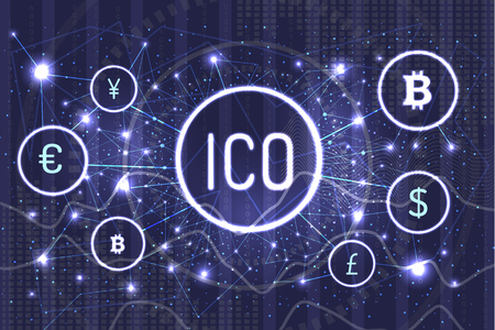 Ico bitcoin and connected currencies set vector. World network on virtual money and banking online, dollar and euro, Chinese yen and pound sterling