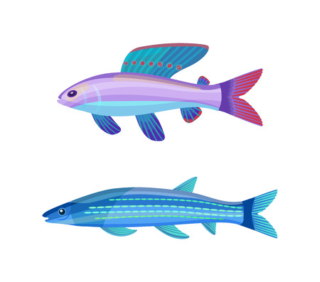 Rare exotic aquarium unusual color fish. Violet-blue sea creature with red dotted fin and long stripped blueish specie cartoon vector illustration.