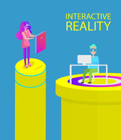 Interactive reality, innovative technology of traveling in space and time. Woman touching screen and man using laptop and vr visual goggles vector
