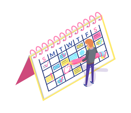 Calendar planner and man creating appointment event vector. Worker organizing workplace by scheduling business meeting. Person with weekly timetable Ilustração