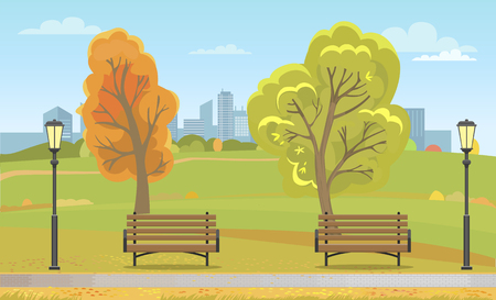 Autumn park with benches and streetlight. Wooden seats along path and fall leaves on trees, skyscrapers of downtown at horizon vector illustration.