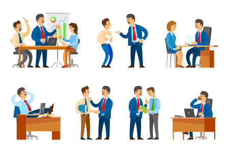Boss chief executive on seminar with office workers vector. Hiring new people, interview with woman candidate, reprimand to novice, business call Foto de archivo - 126297891