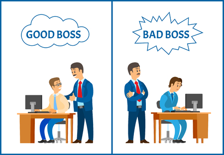 Good and bad boss, comparing attitude to employee. Leader supervising new office worker vector. Encouragement of colleague and showing irritation Иллюстрация