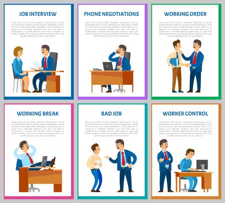 Vorstellungsgespräch Kandidat im Gespräch mit Direktor Posters Vektorgrafik