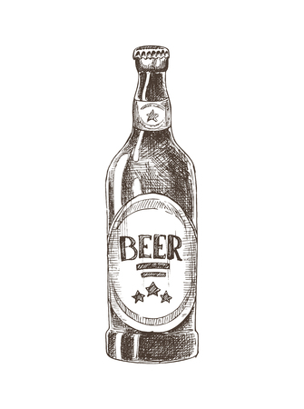 Beer bottle with label monochrome sketch outline black and white. Container with alcoholic spirit and beverage of fine taste, vector illustration Illustration