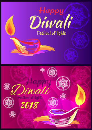 Happy Diwali Festival of Lights 2018 Poster Vector