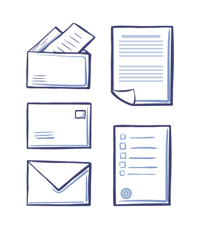 Office messages and envelopes with pages vector. Monochrome sketches outline isolated icons set of papers and documentation. Postal signs on sheets