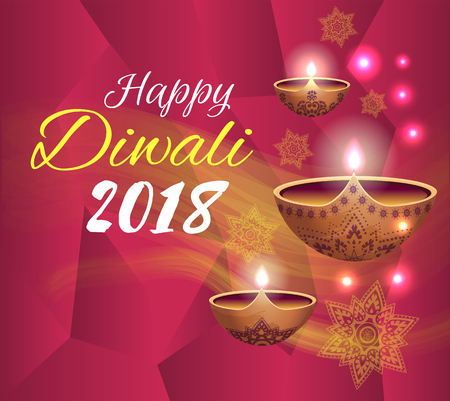 Happy Diwali 2018 Festival Vector Illustration Illustration