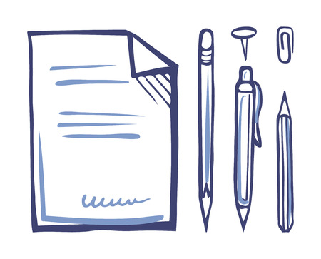 Office papers pen and pencil pins set monochrome sketches outline vector. Documentation with signature at bottom of page. Clip and inks for writing Ilustracja