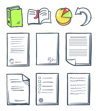 Office paper and pie diagram chart set of isolated icons vector. Black pages with stamps and voting form. Book with bookmark, arrow and indicator