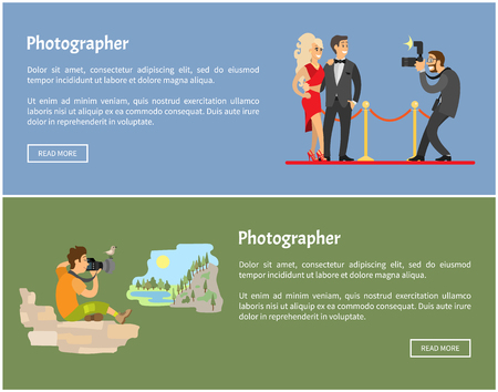 Photographer and paparazzi with camera Internet banners. Celebrities on red carpet, man in mountains taking photo of landscape vector illustrations. Stock Illustratie