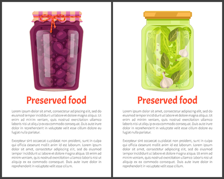 Preserved food banners set with plum and cucumber in jars. Fruits or vegetables inside containers, sweet compote, salty marinade vector illustrations.