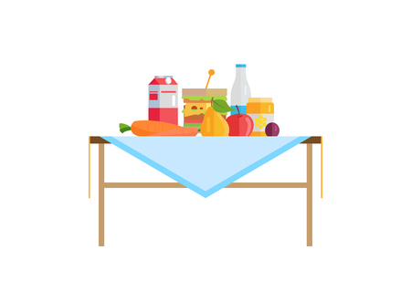 Vegetables and fruit, sandwich with cheese, milk in pack or bottle on table. Carrot near pear, ripe apple, plum beside honey jar vector illustration. 일러스트