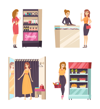 Woman shopping trying on dress in changing room with curtain set vector. Customer female looking at makeup cosmetics production jewelry and food store