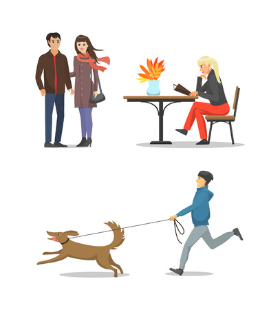 Woman at coffee shop reading menu, people walking together, couple of male and female in love vector. Person with dog pet on leash, jogging boy set Illustration