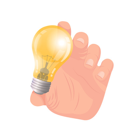 Business idea, hand of businessman holding electric bulb vector. Lightbulb new solutions and innovations in business. Male with glowing lamp eureka Çizim