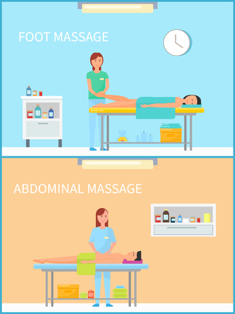 Foot and abdominal massage therapy set vector. Masseuses in salon, interior of room with furniture and happy clients relaxing. Belly healthy treatment