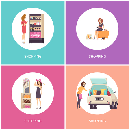 Shopping women in stores buying shoes and hats vector. Set of poster with text and clients, visage makeup production, car loaded with bags purchases