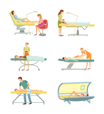 Spa salon pedicure and tanning process set of icons vector. Solarium and pedicurist working, massage and chocolate body care, wrap and cosmetician