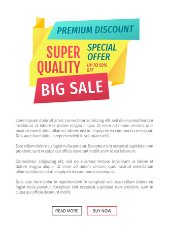 Special offer banner sample vector design icon. Big sale promotion, super quality, premium discount, buy now, origami style, online poster badge.