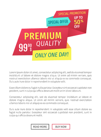 Premium quality vector promotion poster. Special offer for only one day advert label landing page with text sample and read more or buy now buttons.