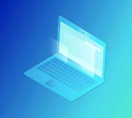 Laptop with screen isolated isometric 3d icon vector. Modern device with keyboard, outputs and microphone, webcam and buttons. Gadget for working