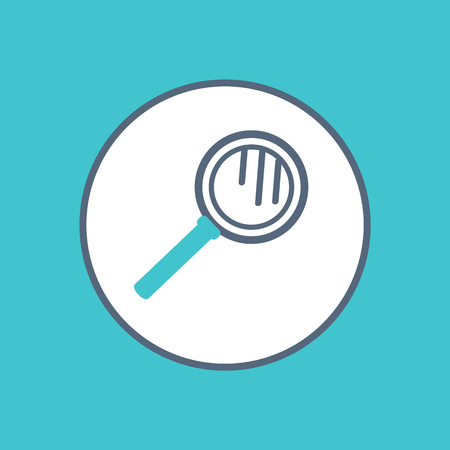 Magnifying glass icon in circle vector illustration isolated. Magnifier loupe sign, reading-glass in round frame. Lens that produces an enlarged image