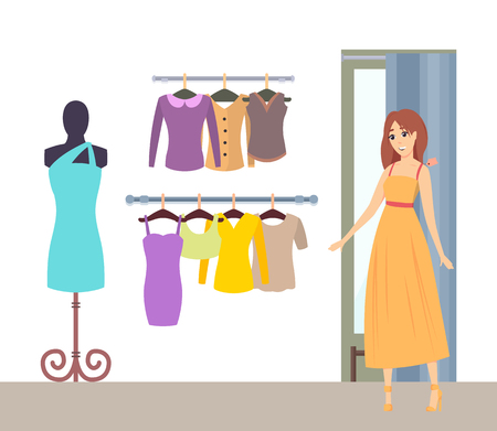 Shopping lady in changing room of luxury boutique wearing dress vector. Mannequin with robe jackets and tops, blouses on hanger. Stylish shopper woman
