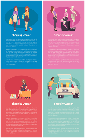 Shopping woman walking with pet and friend, admiring mannequin, trying on new shoes. Female put packages into car, visiting shop vector posters set Vetores