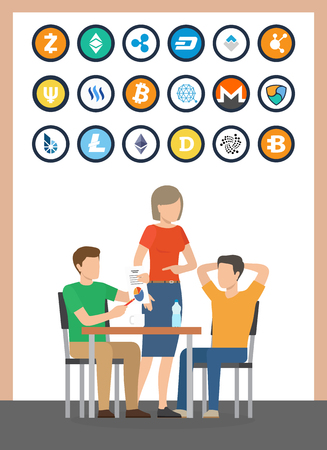 Bitcoin and dogecoin currencies set of isolated icons and people sitting by table vector. Bitcoindark and litecoin, dash and bitshare cryptocurrency