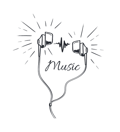 Music Headphones with Loud Sounds Playing Sketch Illustration