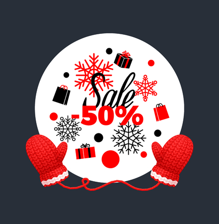 Winter sale 50 percent off poster. Wreath made of snowflakes, knitted red gloves. Woolen mittens realistic outfit gauntlet, warm wintertime accessory
