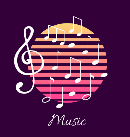 Music notes and text, notation tablature sounds, poster text vector. Composition classic graphic representation of tunes and melody, lines in circle