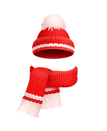 Winter warm red hat with white pom-pom and knitted scarf icons. Woolen neckcloth and headwear in realistic design, outfit clothes, personal accessories