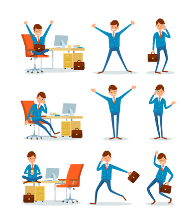 Businessman working in office, ceo with briefcase running to work vector. People in business, man talking on phone, leader with happy face smiling 일러스트