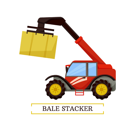 Bale stacker agricultural machine isolated icon vector. Farming machinery for compressing hay into cubes transporting dry raked crops. Rural device Illustration
