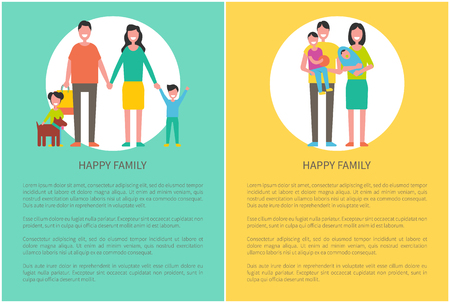 Family parent and kids poster with text sample. Pet with daughter, father and mother holding child. Boy kid playing with ball, happy spouses vector Illustration