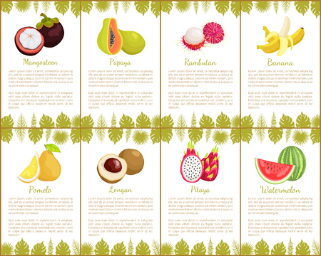 Passion fruit and papaya posters set with text sample rambutan and kumquat. Banana and pitaya watermelon slices with seeds. Tropical and exotic fruits Illustration