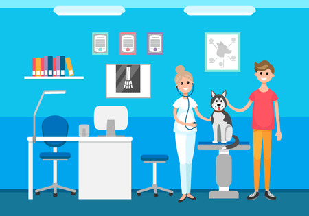 Veterinary clinic veterinarian and pet on checkup vector. Male with dog on table examining doctor with stethoscope. Interior of checking hospital room