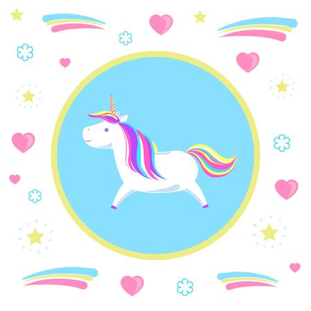 Unicorno girly infantile dalla leggenda, cavallo misterioso dalle fiabe in cerchio sul modello con cuori e punti. Personaggio animale con vettore di criniera arcobaleno