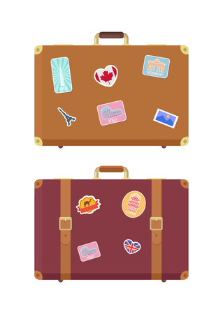 Luggage travel bags with stickers isolated icons set vector. France and Britain flag, UAE building, Italy Rome. Ancient Colosseum sign on luggage
