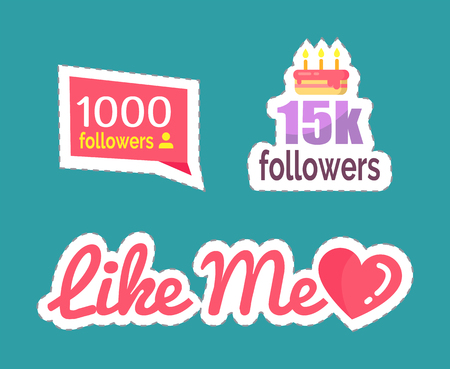 Like me followers numbers and cake to celebrate big amount of profiles following user. Isolated stickers and patches set vector. Heart popularity sign