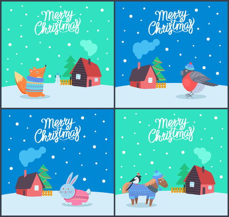 Merry Christmas fox and bunny posters set vector. Bullfinch wearing hat, animals and winter houses, snowing weather. Decorated pine and wooden fence Ilustrace