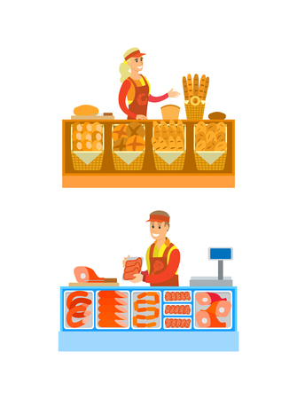 Supermarket stores department bakery set vector. Woman selling baked production, bread and buns. Man with sausages and beef, pork meat on shelves