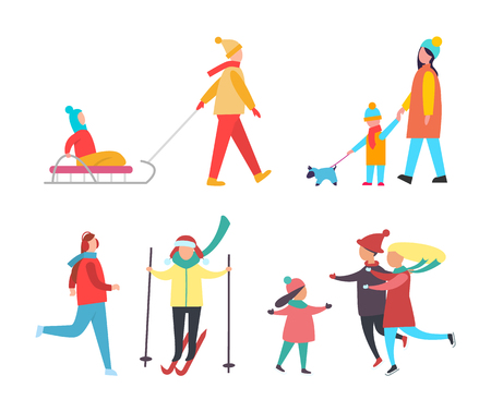 Skating and skiing people wintertime activity vector. Family with mother, father and child having fun outdoors. Kid sitting on sled, woman walking dog