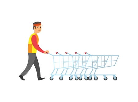 Worker man arranging empty metal shopping trolleys with handles vector. Carts for goods and bought products. Person in shop working on cleaning store