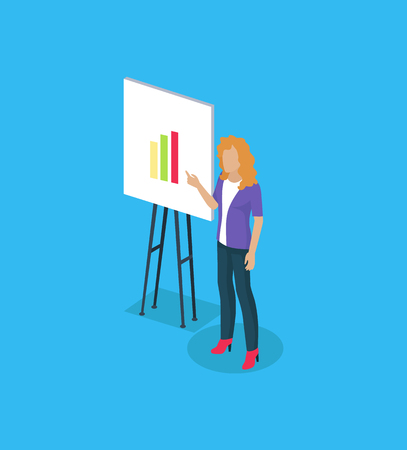 Presenter Showing Charts Icon Vector Illustration