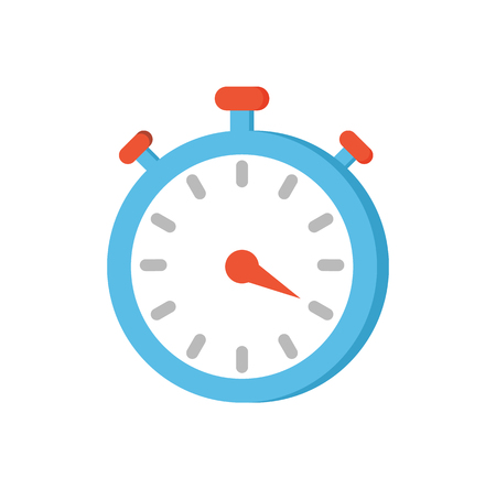 Timer clock isolated icon closeup vector. Device counting and showing seconds, minutes and hours. Drawn indicator with pointers, buttons and screen